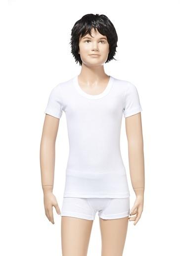 Zeyzey Ribana Açık Yaka T-Shirt Beyaz